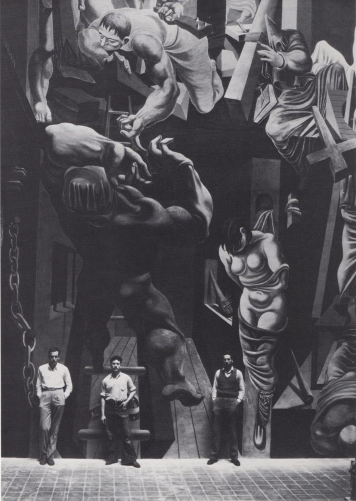"1935, Philip Guston, Reuben Kadish and Jules Langsner in front of the mural, ""The Struggle Against Terrorism"", 1934-35. Center section of fresco at the Museo Michoacano, Morelia, Mexico. 40 ft. high"