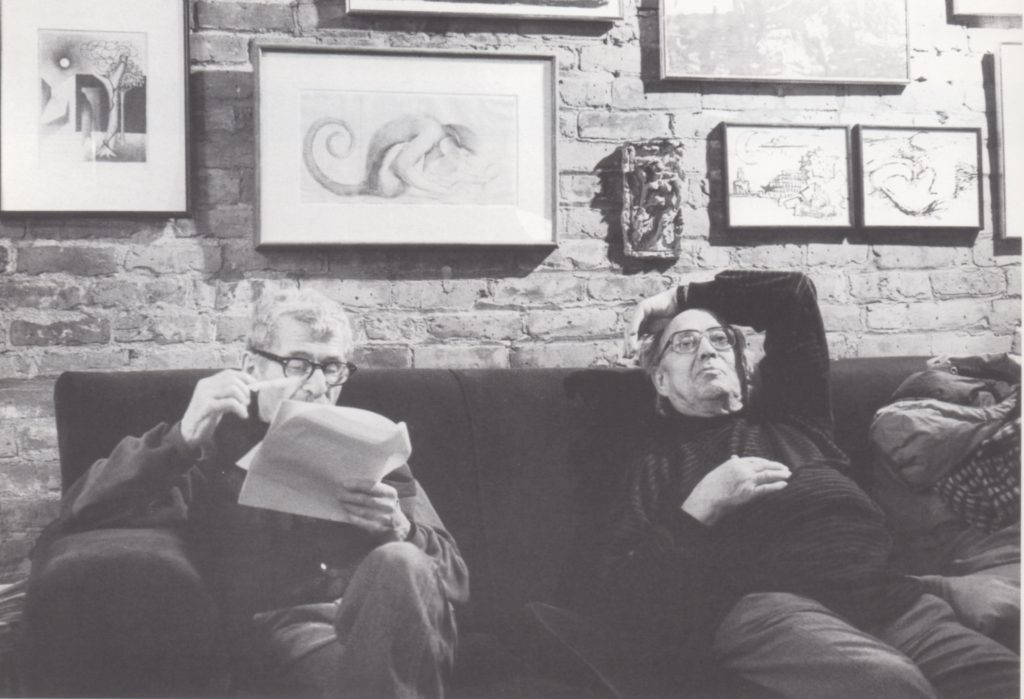 Reuben Kadish (right) in his 9th Street studio, listening to Herman Cherry (left) read his essay for the catalogue of Kadish's 1990 retrospective exhibition at the New Jersey State Museum. Photograph: Regina Cherry