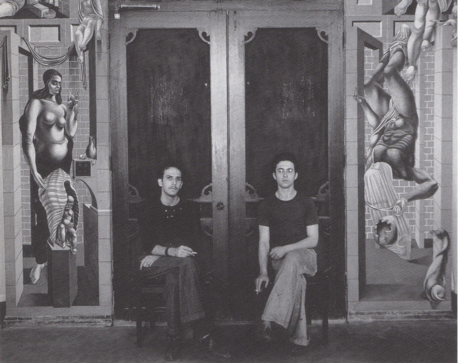 Reuben Kadish and Philip Goldstein (Guston) in 1935 at the City of Hope mural in Duarte, California 1935.