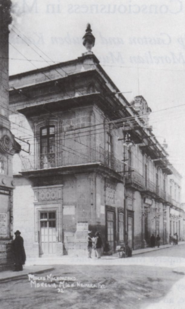 Fig. 1, Postcard showing main entrance of the Museo Michoacano, Morelia, Mexico. Estate of Philip Guston