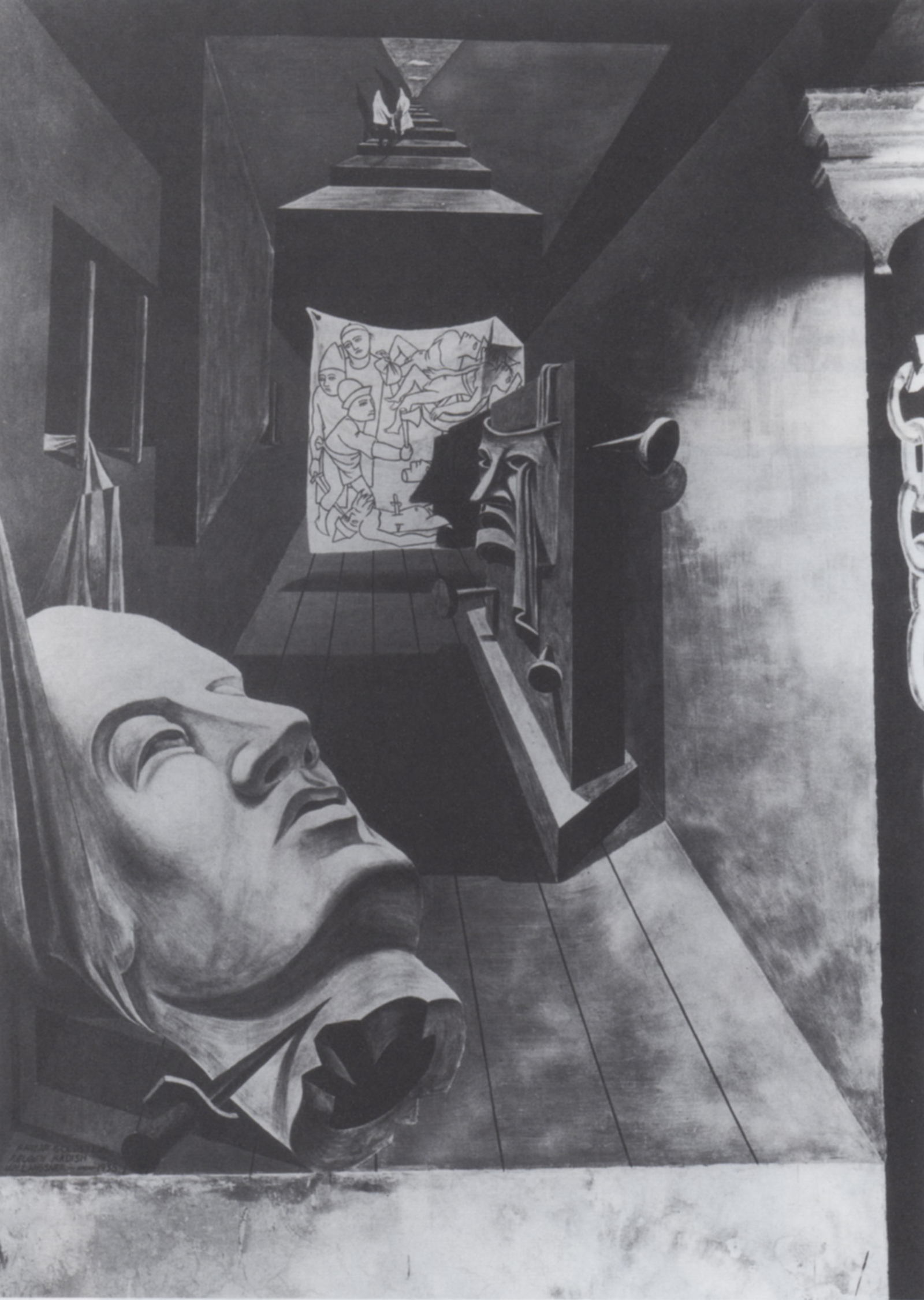 (fig. 20) Guston, Reuben Kadish (and Jules Langsner), Post-surrealist still life panel from The Struggle against Terrorism, 1934-35. Photo from the Reuben Kadish Papers, Archives of American Art, Smithsonian Institution, with permission of the Reuben Kadish Art Foundation