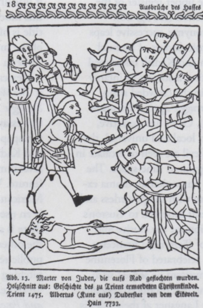 Albert Kunne (also known as Albertus Duderstadt von Eiksvelt) Burning of the Jews of Trent, 1475. Woodcut. Reproduced from Georg Hermann Theodor Liebe, Das Judentum in der deutscher Vergangenheit (1903), ill.13