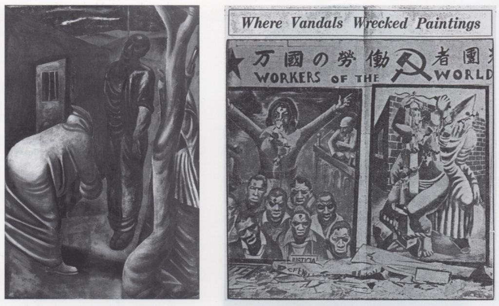 "(fig. 10 - left )Reuben Kadish, Portable mural for Negro America, Hollywood John Reed Club, 1933. Destroyed fresco, dimensions unknown. Photo from the Reuben Kadish Papers, Archives of American Art, Smithsonian Institution, with permission of the Reuben Kadish Art Foundation, (fig. 11 - right) ""Where Vandals Wrecked Paint- ings,"" Los Angeles Illustrated Daily News, February 13, 1933. Pho- tograph shows damaged frescoes for Negro America by Murray Hantman and Phillip Goldstein"