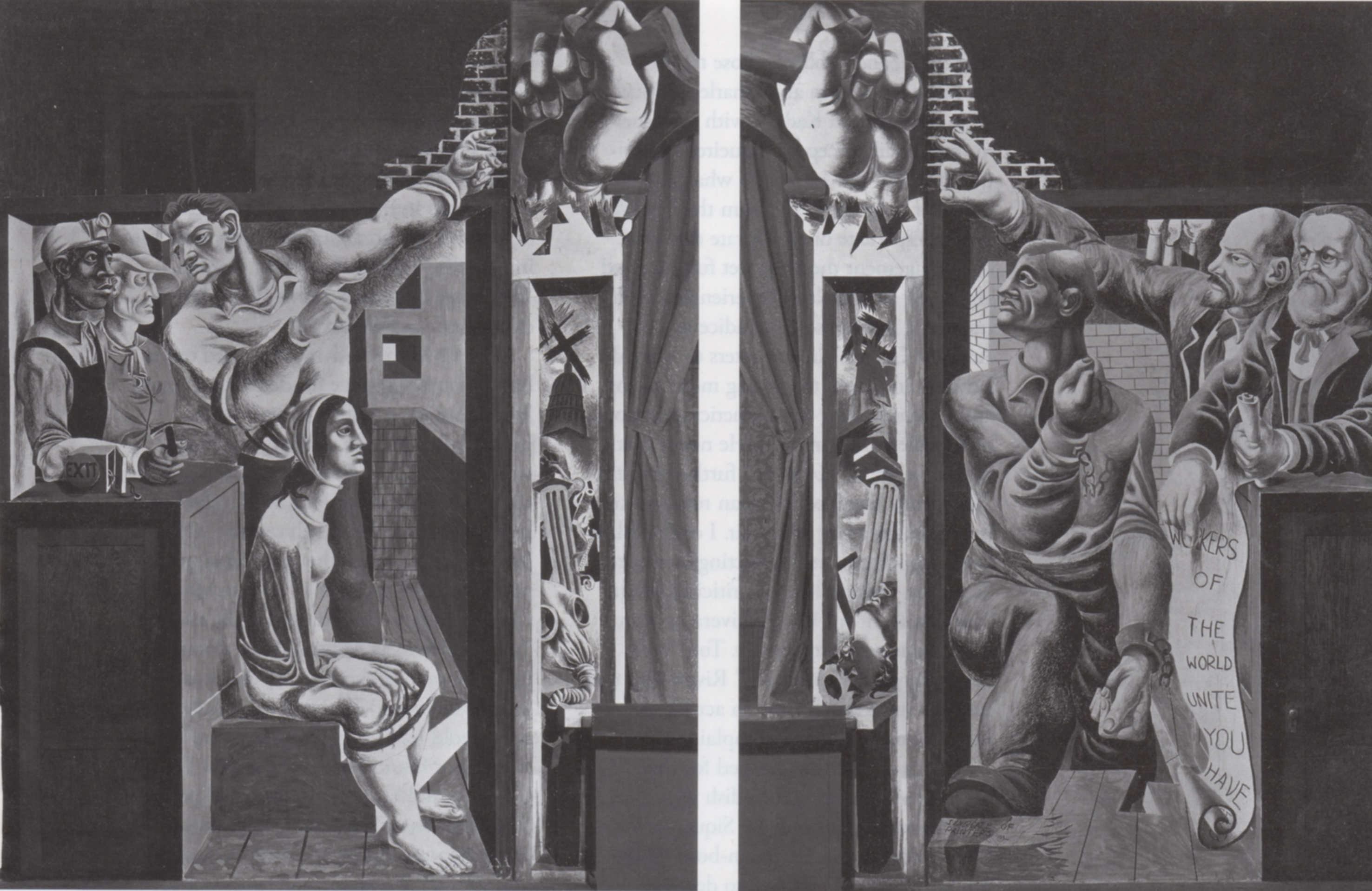 (fig. 13) Philip Guston, Reuben Kadish, and Sanford Pollock, Mural for Proscenium, Workers Alliance Center, Los Angeles, 1934. Fresco. Photo from the Reuben Kadish Papers, Archives of American Art, Smithsonian Institution, with permission of the Reuben Kadish Art Foundation