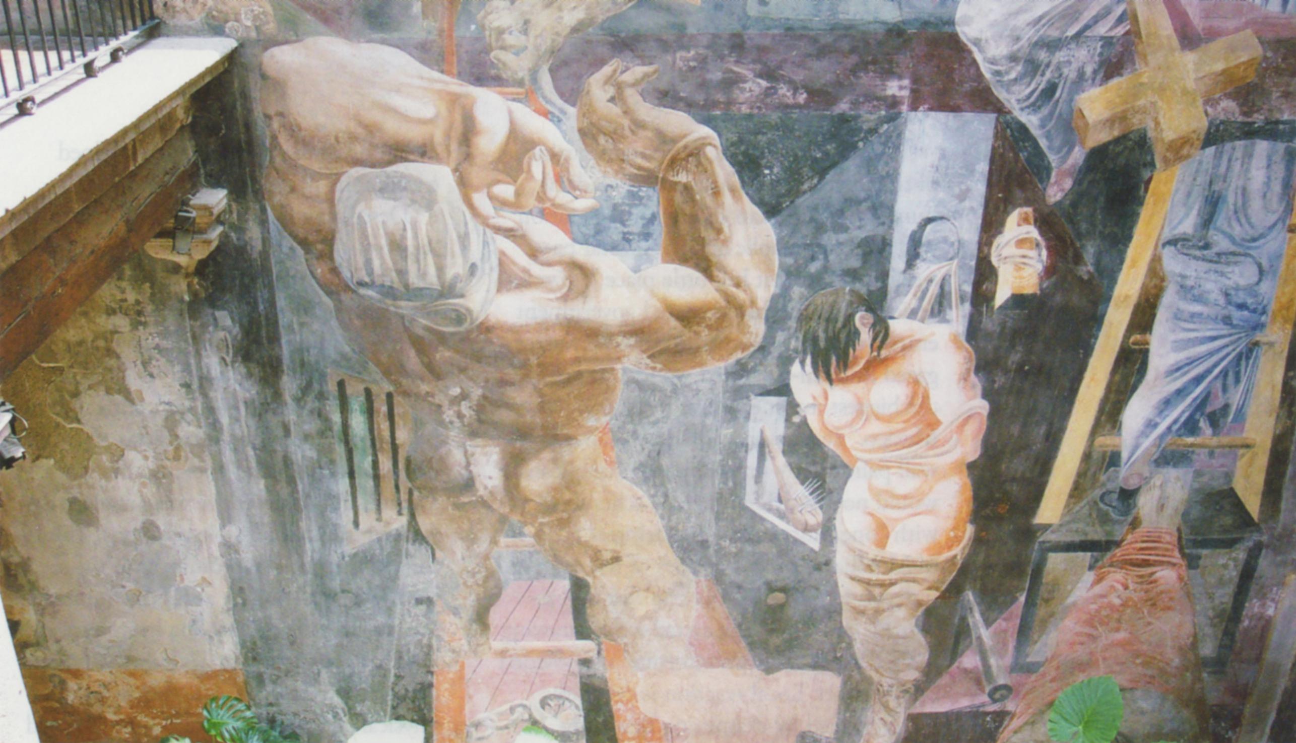 (fig. 16) Philip Guston, Reuben Kadish (and Jules Langsner), The Struggle against Terrorism, 1934-35. Detail of falling man from central panel. Photo, Ellen Landau