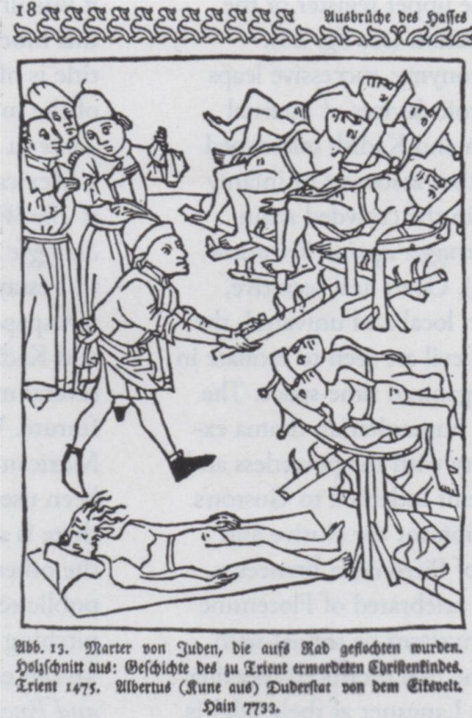 Albert Kunne (also known as Albertus Duderstadt von Eiksvelt) Burning of the Jews of Trent, 1475. Woodcut. Reproduced from Georg Hermann Theodor Liebe, Das Judentum in der deutscher Vergangenheit (1903), ill.13
