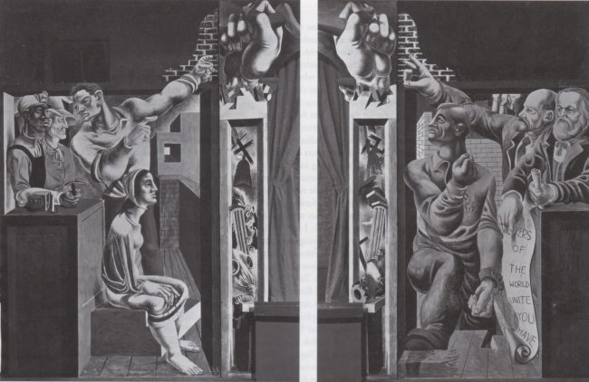 Reuben Kadish Mural for Worker's Alliance Center, Fresco on wall, unknown, 1934,