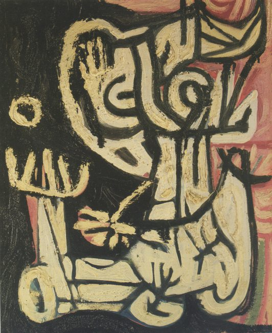Reuben Kadish untitled, oil and sand on canvas, 22 x 18 inches, 1940 c.,