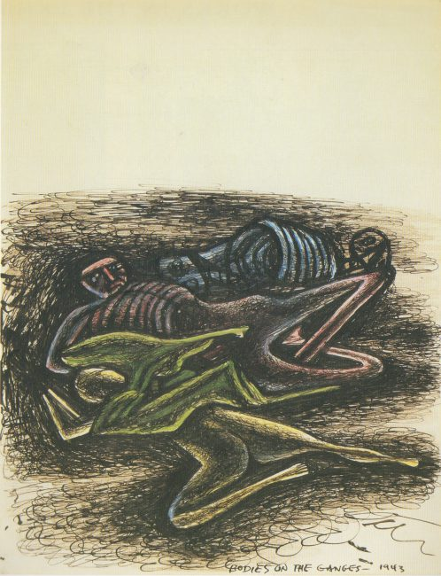 Reuben Kadish Bodies on the Ganges, ink and colored pencil on paper, 10 x 8 inches, 1943,