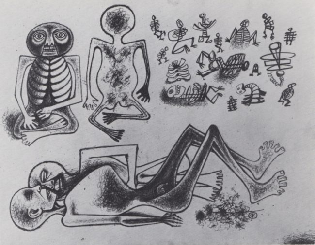 Reuben Kadish untitled from Document Famine, ink on paper, 19 x 25 inches, 1944,