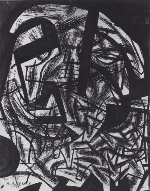 Reuben Kadish Organic Forms, ink on paper, 28 x 22 inches, 1945,