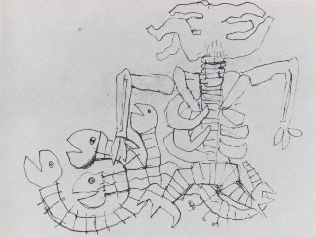 Reuben Kadish Untitled VII (Vietnam Series), ink on paper, 9 x 12 inches, 1968,