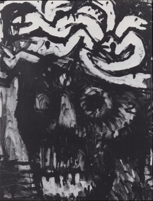 Reuben Kadish Portrait of J.T., monotype on paper, 24 x 18 inches, 1982,