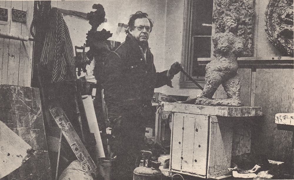 1970, Reuben Kadish in his studio.