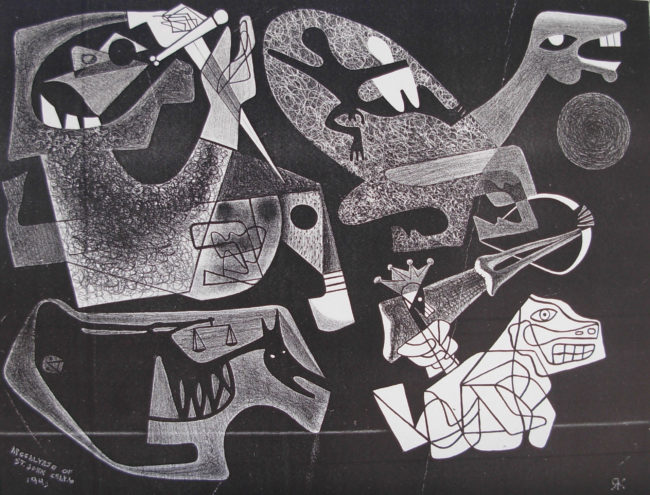 Reuben Kadish Four Horsemen of the Apocalypse, lithograph, 23 x 25 (58 x 64 cm), 1943,