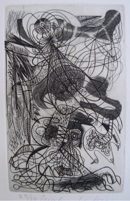 Reuben Kadish Untitled (Sureal Etching), etching, 13 x 11 inches (33 x 28 cm), 1940,