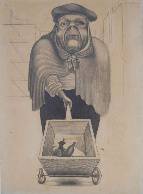 Reuben Kadish Blind Woman Pushing a Cart, pencil on paper, 22 x 18 (55 x 46 cm), 1938,