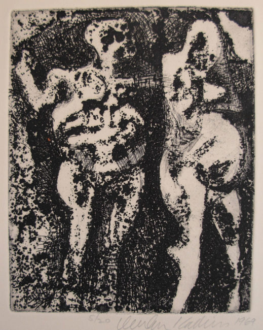 Reuben Kadish Untitled (Male, Female), etching, 16 x 14 inches (41 x 36 inches), 1969,