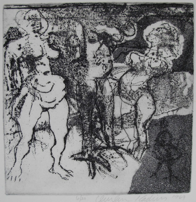 Reuben Kadish Untitled (Three Female Nudes), etching, 16 x 21 inches (41 x 53 cm), 1969,